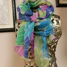 Versatile oversized scarf Very light and sheer to wear many ways. Perfect for that needed color accent, large enough for shawl...and perfect for the suitcase!! BUNDLE AND SAVE $$ Accessories Scarves & Wraps