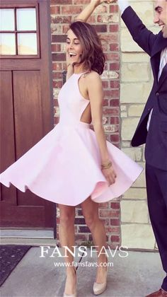 Simple Pink Short Homecoming Dress Cute Spaghetti Straps Girls Cocktail Party Gowns Short Satin Graduation Party Dress Sweet Dress from PeachGirlDress - Prom Dresses Design Dresses Elegant, White Wedding Dresses, Simple Dresses, Wedding White, Lace Wedding, Flowy Beach Dress, Flowy Gown, Short Satin, Hoco Dresses