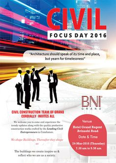 BNI Civil Focus Day 2016 brochure designed by our team => http://www.webdesign.123coimbatore.com/brochures.php