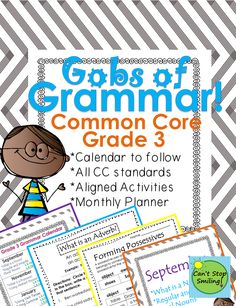 Common Core aligned Grammar packet including calendar to follow with all standards plugged in and activities to go along $6