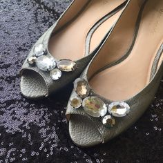Kate Spade Flats Cute gray leather peep toe flats by Kate Spade. There is a rhinestone embellishment on each shoe. Worn only a few times! kate spade Shoes