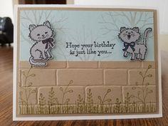 Stampin Up Pretty Kitties birthday card.