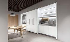 Lignum et Lapis, Prodotti - Arclinea The Door Is Open, Single Doors, Pocket Doors, Small Rooms, Studio Apartment, Interior Design Inspiration, Storage Spaces, Teak, Showroom