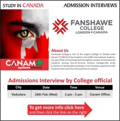 Study in Canada - Fanshawe College. #Fanshawe_College is one of the largest college in #Ontario with almost 17,000 full time students and 2,000 international student. #StudentVisa #StudyVisa #StudyinCanada #CanamConsultants #CanamGroup #Canam  For complete information & enrolment, Register Here: http://canamgroup.com/maileruniversity.php?name=fanshawe-college