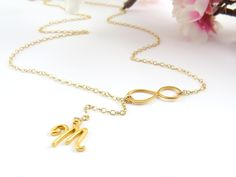 Personalized+Gold+Infinity+Lariat+new+design+by+Keepitclose,+$33.00