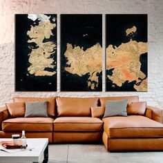 Maps of Game of Thrones,Large Canvas Print Game of Thrones,Map 1or 3 panels Canvas Print,Large Wall Canvas, abstract world map,split canvas Art №
