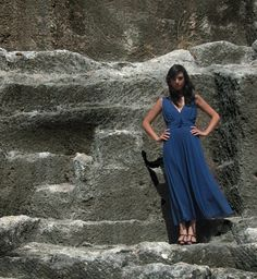 bridesmaid  blue classic two layers dress by Barzelai on Etsy, $190.00