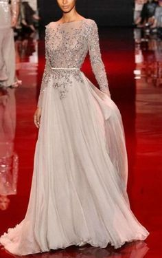 Modern A-line Floor-length Long Sleeves Appliques Dress