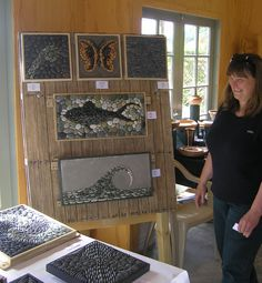 New pallet stand (and me) with mosaics in place - Trinity Farm artists hub, Kapiti Arts Trail November 2014.