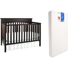 Graco - Lauren 4-in-1 Crib & Sweet Dreams Toddler / Baby Mattress Bundle, Espresso from Wal-Mart. Awesome reviews. $175