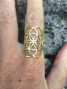 Brass Seed of Life Ring, Sacred G Geometry Flower of Life Mandala Tribal Jewelry
