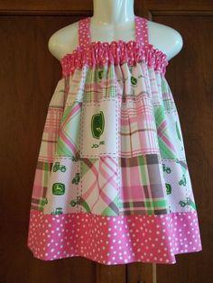 pink john deere baby clothes | John Deere dress Pink Green Birthday V Back baby by GinaBellas1, $39 ...