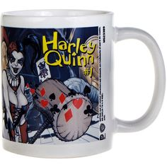 DC Comics Harley Quinn No.1 Mug (White) ($7.90) ❤ liked on Polyvore featuring home, kitchen & dining, drinkware and white mug