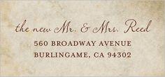 Vintage Banner Address Label....great for a wedding gift basket
