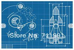 Rocket blueprints rocket blueprint rockets pinterest room free shipping custom rocket blueprint mural wallpaper malvernweather Image collections