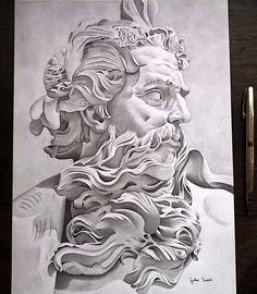 """@gurabisco on Instagram: """"Finalizo o busto do Poseidon também conhecido como Neptune,e imagino como ele ficará nos próximos anos quando desenhar novamente.Lápis…"""" • Instagram Zeus Tattoo, Statue Tattoo, Angel Sleeve Tattoo, Sleeve Tattoos, Mago Tattoo, Canvas Wall Art Quotes, Christ Tattoo, A Level Art Sketchbook, Sketch Style Tattoos"""