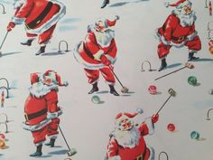 Vintage Christmas Gift Wrapping Paper - Christmas Break - Santa Playing Croquet - Croquet Lover Christmas - 1 Unused Full Sheet Gift Wrap