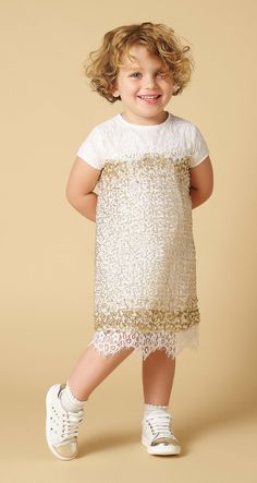 TWIN-SET Simona Barbieri, 2016 Summer Baby collection: full sequin dress FS62QA, socks FS6AB1 and heart sneakers HS66BA