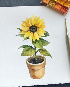 quick healthy breakfast ideas for diabetics recipes without food Sunflower Drawing, Sunflower Art, Watercolor Sunflower, Watercolor Flowers, Watercolor Drawing, Watercolor Illustration, Painting & Drawing, Watercolor Paintings, Illustration Flower