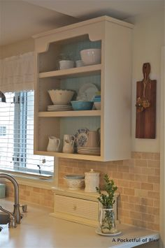 A Pocketful of Blue: HOW I REDECORATED MY KITCHEN SHELVES