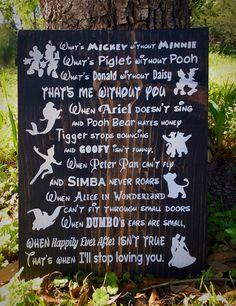Handmade Disney Sign, Disney Decor, Disney in this House, Disney Love, Wood Sign,  Children's Room Decor, Disney Wedding, I'll Always Love by WarmthofWoodTx on Etsy https://www.etsy.com/listing/288055257/handmade-disney-sign-disney-decor-disney