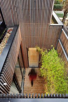 patio, murs parés de lattes de bois