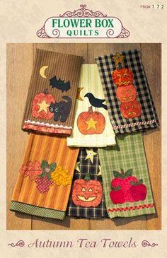 172 Autumn Tea Towels - Flower Box Quilts