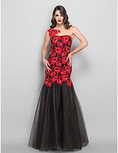 Free Measurements ! Trumpet/Mermaid  Bateau Floor-length  Lace and Tulle Evening Dress
