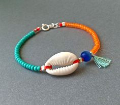 Cowrie Shell bracelet - Turquoise and orange - Turquoise tassel - Natural cowrie shell - Sterling silver - Handmade - #