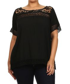 Another great find on #zulily! Black Floral Crochet Boatneck Top - Plus #zulilyfinds
