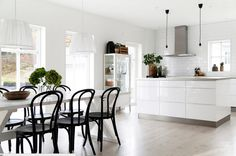 Beautiful Scandinavian White Kitchen and Dining