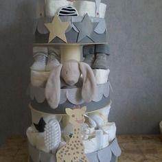 """Gâteau de couches mixte 3 étages """"mon amie la girafe"""""""