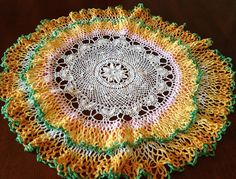 Vintage Crocheted Doily, White Yellow Orange Green Pink Doily, Fall Color Doily, Handmade Crochet Do Vintage Crochet, Crochet Doilies, Orange, Yellow, Knitting Projects, Outdoor Blanket, Trending Outfits, Holiday Decor, Unique Jewelry