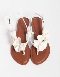 Flower Sandals in White