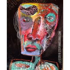 Confident in the Certainty | Original acrylic painting by Steffanie Lorig | #painting #art #artbrut #primitiveart #rawart #expression #contemporaryart #creative #color #expressionist #expressionism #steffanielorig #newart #mixedmedia #seattleart #portrait