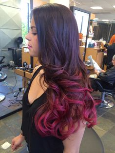 Red ombré. Beautiful hair