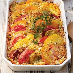 Grab those heirloom tomatoes and roast them in this crispy gratin. #recipes #sides
