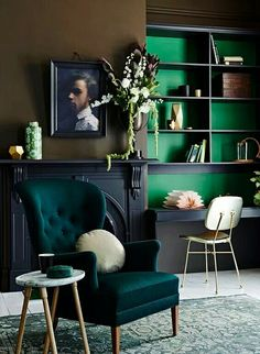 Emerald and Navy Blue interior design