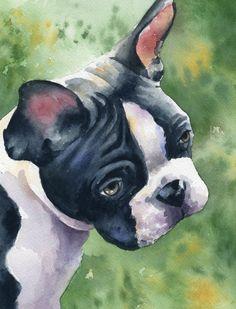 BOSTON TERRIER Dog Art Print by DJ Rogers by k9artgallery on Etsy WATERCOLOR
