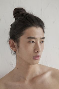 Wang Hao//male,strong jaw, Asian, brown hair, dark hair, dark eyes, light skin, long hair, manbun, straight hair