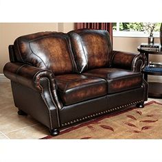 Abbyson Living Tannington Top Grain Loveseat in Brown ** Click image for more details.Note:It is affiliate link to Amazon.