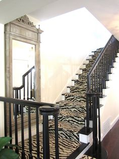 striking foyer w/ zebra runner on stairway + oversized mirror (California French Cottage Home Tour via classic casual home). This is sooooo design ideas floor design Bungalow, Staircase Carpet Runner, Halls, Art Nouveau, Traditional Staircase, Up House, French Cottage, French Country, Beige Walls