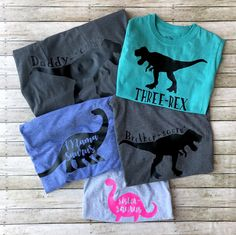 Um so I have to have these for liams third birthday. Dinosaur Birthday Party, 4th Birthday Parties, Baby Birthday, Birthday Ideas, Dinasour Birthday, Dinosaur Shirt, Third Birthday, Just In Case, Family Birthday Shirts