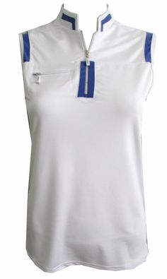 Meet our DKNY Ladies Sleeveless Golf Shirt with zip front placket & mandarin collar in Bahama Blue accents on collar & zip closure! Love it? Share it! #golf #ootd #lorisgolfshoppe