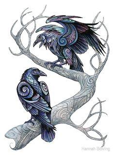 Huginn and Muninn by benu-h on DeviantArt – Norse Mythology-Vikings-Tattoo Hugin Munin Tattoo, Corvo Tattoo, Art Viking, Viking Raven, Viking Woman, Vikings, Tatoo Bird, Deer Tattoo, Tattoo Ink