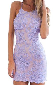 Lace Embroidery Spaghetti Straps Dress #homecomingdresses