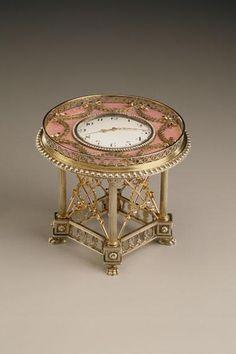 #Fabergé -- Clock -- 1908-17 -- Workmaster: Henrik Immanuel Wigstrom -- St. Petersburg -- Silver gilt, gold, enamel & pearls -- Belonging to the Marjorie Merriweather Post Collection @ Hillwood Museum -- Washington, DC