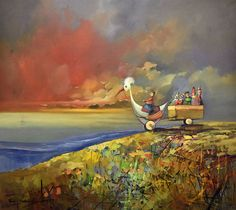 Obecnie na aukcjach Andrzej Gudanski - Riding down the hill Ed Fairburn, Auction, Unique, Painting, Art, Over Knee Socks, Art Background, Painting Art, Kunst
