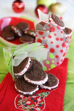 Chocolate peppermint sandwich cookies in a great box!