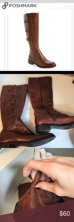 ECCO Hobart boots in cognac Cognac color; very comfortable and great used condition save for couple seams missing on back heel, barely noticable (i only saw on inspection before posting!) Ecco Shoes
